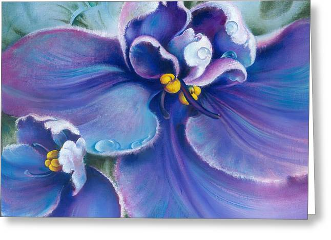 Droplet Paintings Greeting Cards - The Violet Greeting Card by Anna Ewa Miarczynska