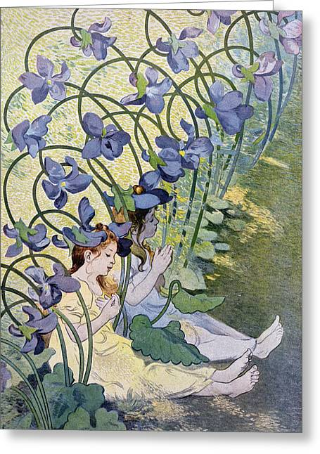 Personification Greeting Cards - The Violets Lively Flowers Greeting Card by Firmin Bouisset