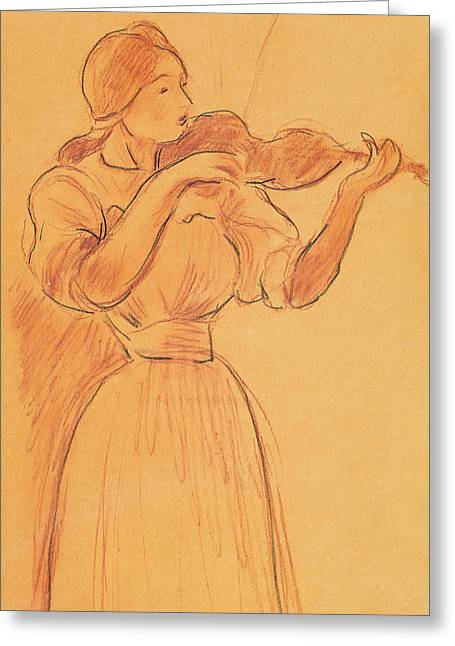Morisot Canvas Greeting Cards - The Violin Greeting Card by Berthe Morisot
