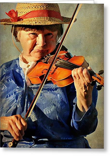 Playing Musical Instruments Greeting Cards - The Violin Greeting Card by Diana Angstadt