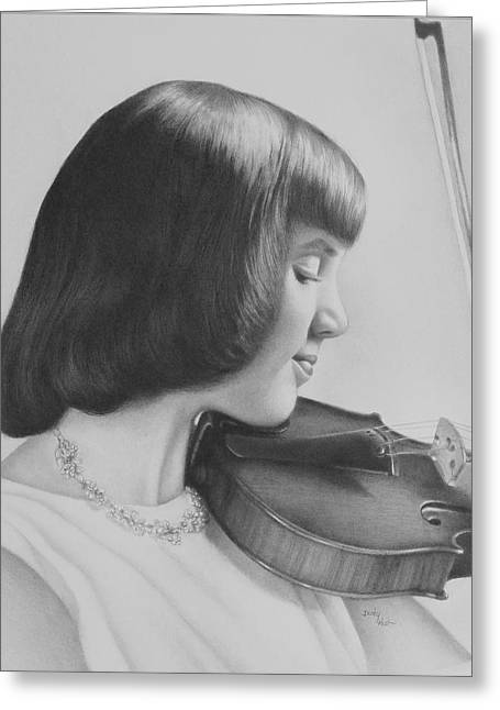 Becky Greeting Cards - The Violin Player Greeting Card by Becky West