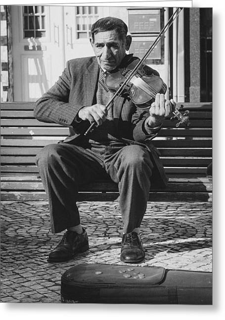 Beg Greeting Cards - The Violin Player Greeting Card by Marco Oliveira