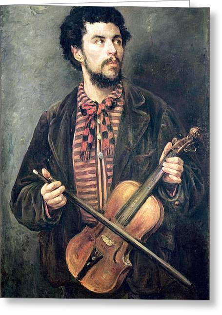 Curly Hair Greeting Cards - The Violin Player Oil On Canvas Greeting Card by Marcellin Gilbert Desboutin