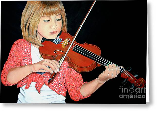 Andrew Wells Greeting Cards - The Violinist Greeting Card by Andrew Wells