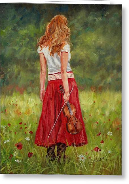 Red Dress Greeting Cards - The Violinist Greeting Card by David Stribbling
