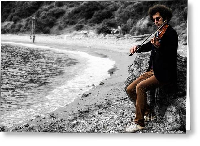 Turkey Greeting Cards - The Violinist Greeting Card by Merthan Kortan