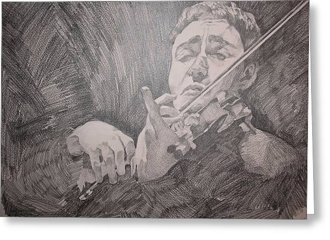 Violin Player Drawings Greeting Cards - The Violinist Greeting Card by Wendy Head