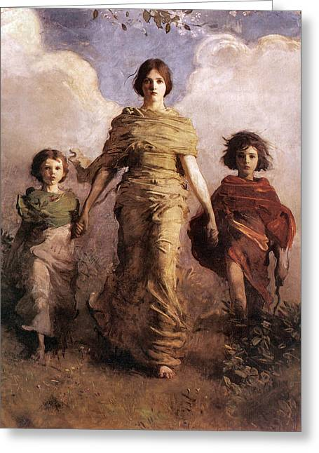 Little Boy Greeting Cards - The Virgin Greeting Card by Abbott Handerson Thayer