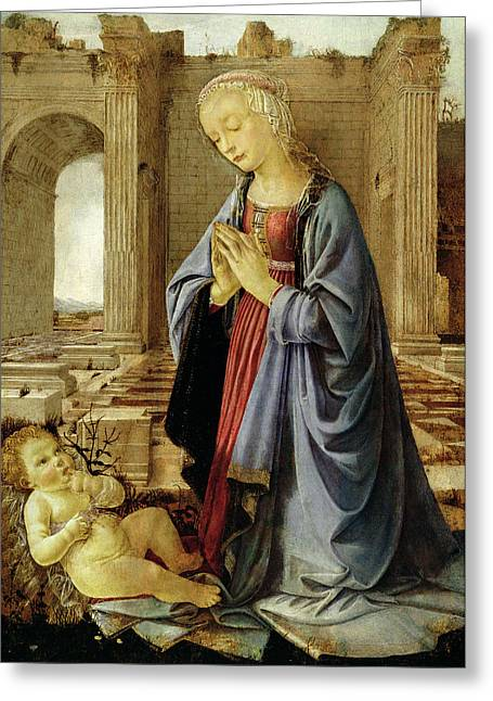 Virgin Mary Photographs Greeting Cards - The Virgin Adoring The Christ Child The Ruskin Madonna C.1470 Tempera & Oil On Canvas Greeting Card by Andrea del Verrocchio