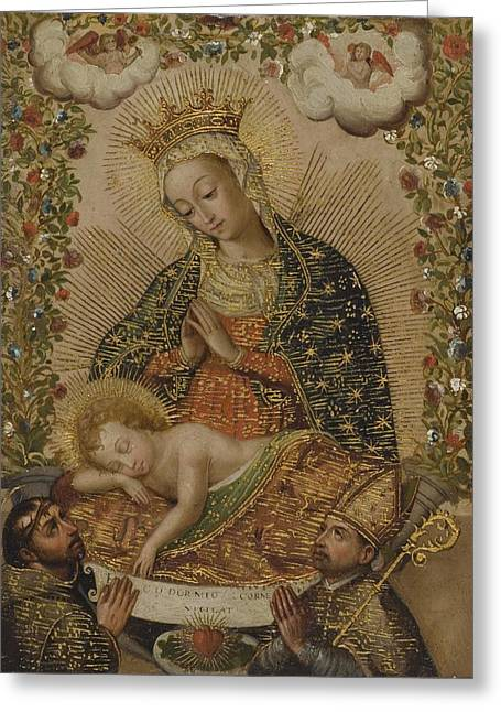 18th Century Mixed Media Greeting Cards - The Virgin Adoring the Christ Child with Two Saints Greeting Card by Libellule Gallery