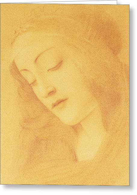 Virgin Mary Drawings Greeting Cards - The Virgin after Botticelli Greeting Card by Fernand Khnopff