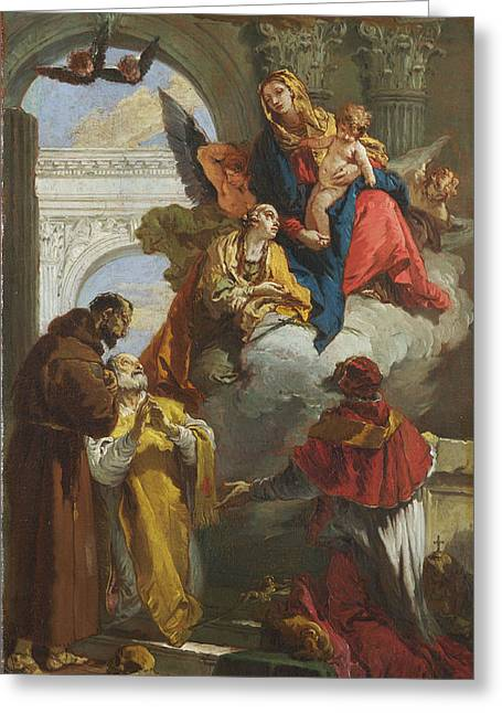Giovanni Battista Tiepolo Greeting Cards - The Virgin and Child appearing to a Group of Saints Greeting Card by Giovanni Battista Tiepolo