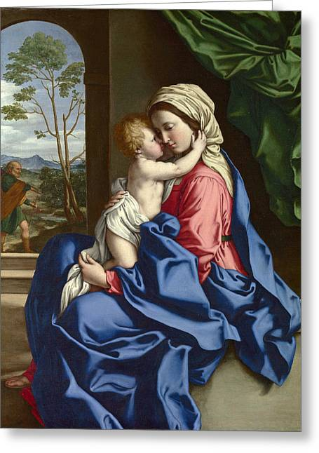 Sassoferrato Greeting Cards - The Virgin and Child Embracing Greeting Card by Sassoferrato