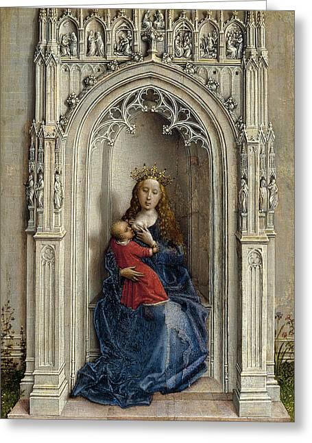 Rogier Van Der Weyden Greeting Cards - The Virgin and Child enthroned Greeting Card by Rogier van der Weyden