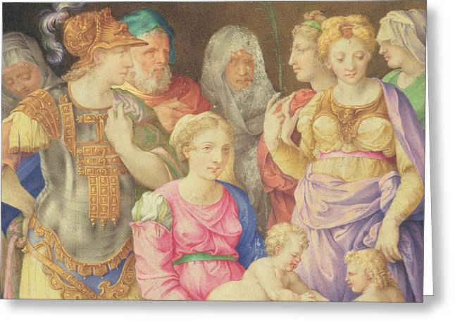 John The Baptist Greeting Cards - The Virgin and Child Greeting Card by Giorgio Giulio Clovio