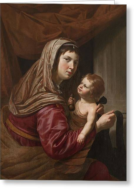 Virgin Greeting Cards - The Virgin And Child Greeting Card by Jan van Bijlert or Bylert