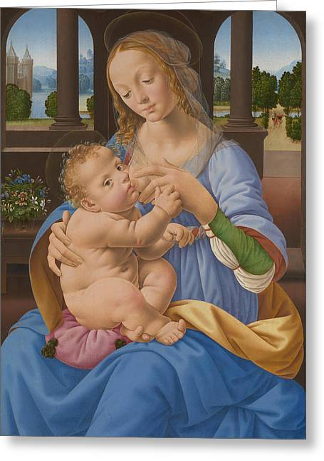 Breast Feeding Greeting Cards - The Virgin and Child Greeting Card by Lorenzo Di Credi