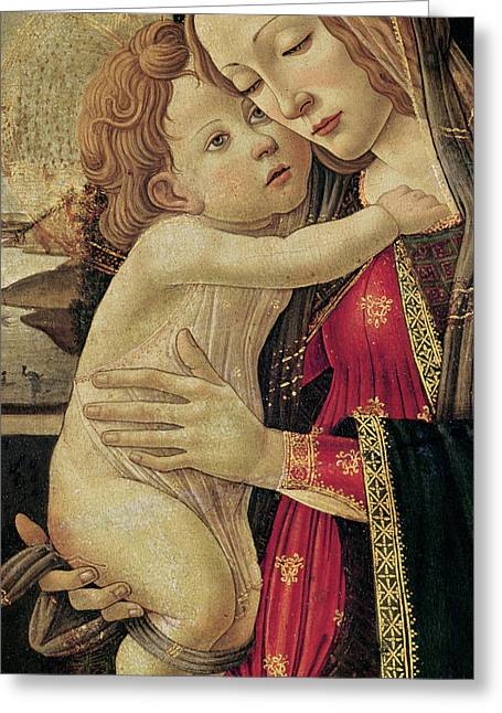 Christ Child Greeting Cards - The Virgin and Child Greeting Card by Sandro Botticelli