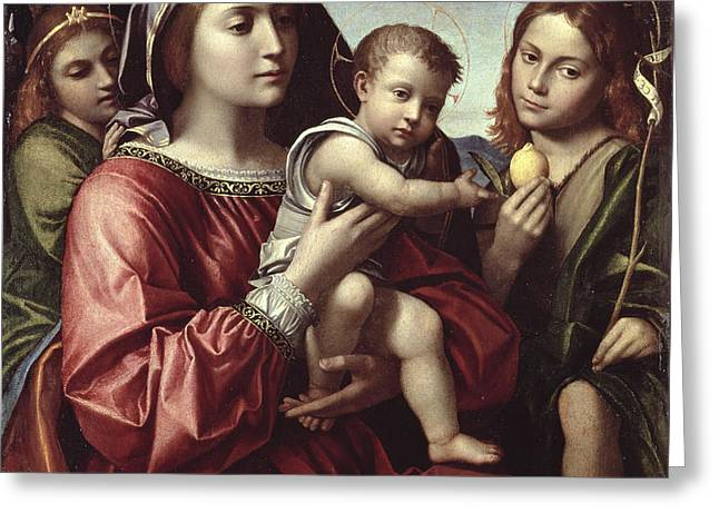 The Virgin And Child, Saint John The Baptist And An Angel Greeting Card by Paolo Morando