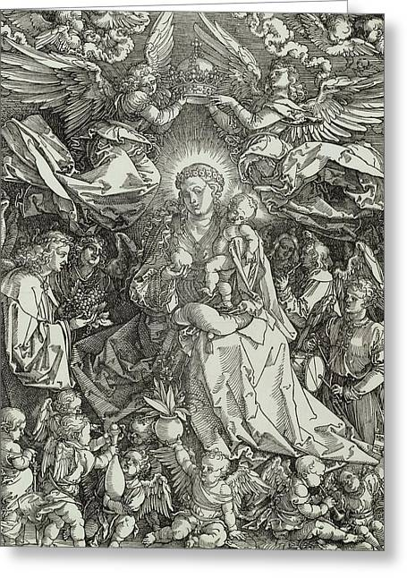 Woodcut Paintings Greeting Cards - The Virgin and Child surrounded by angels Greeting Card by Albrecht Durer or Duerer