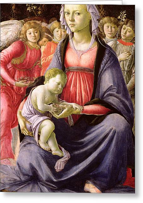 Virgin Mary Greeting Cards - The Virgin and Child surrounded by Five Angels Greeting Card by Sandro Botticelli