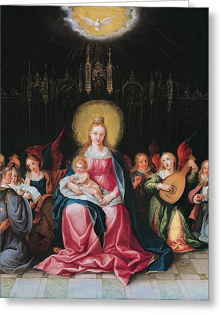 Virgin Mary Greeting Cards - The Virgin And Child Surrounded Greeting Card by Cornelis de I Baellieur