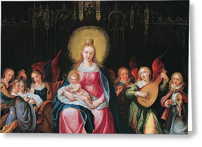The Virgin And Child Surrounded Greeting Card by Cornelis de I Baellieur