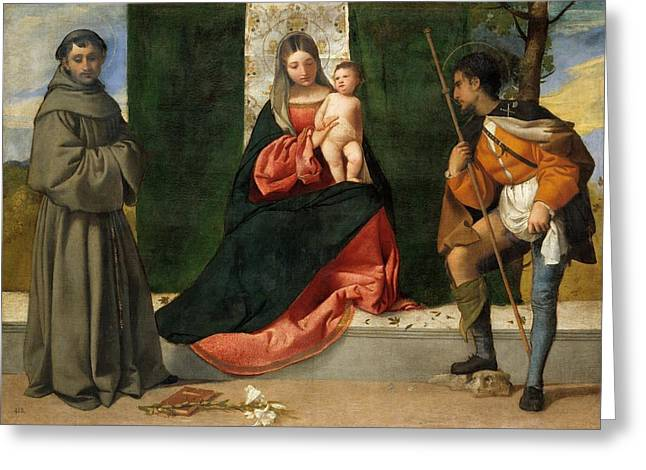 1510 Paintings Greeting Cards - The Virgin and Child Greeting Card by Titian
