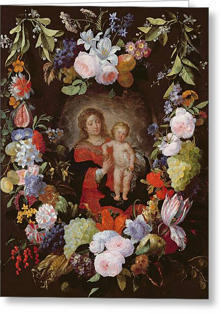 Jesus Greeting Cards - The Virgin And Child With A Garland Of Flowers Oil On Panel Greeting Card by Gerard Seghers