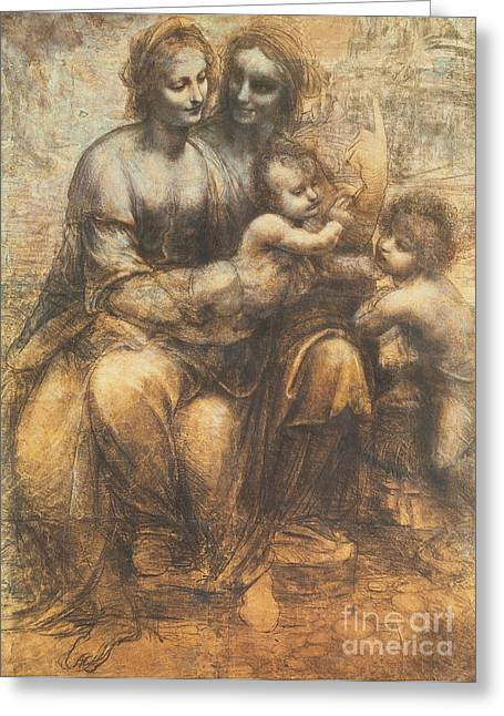 Blessed Mother Greeting Cards - The Virgin and Child with Saint Anne and the Infant Saint John the Baptist Greeting Card by Leonardo Da Vinci