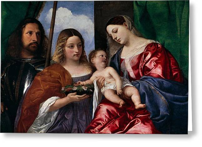 1518 Greeting Cards - The Virgin and Child with Saints Dorothy and George Greeting Card by Titian