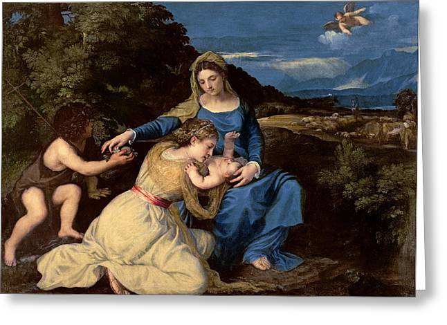 Jesus With A Child Greeting Cards - The Virgin and Child with Saints Greeting Card by Titian
