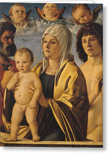 Christ Child Greeting Cards - The Virgin and Child with St Peter and St Sebastian Greeting Card by Giovanni Bellini
