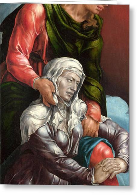 John The Evangelist Greeting Cards - The Virgin and Saint John the Evangelist Greeting Card by Maerten van Heemskerck