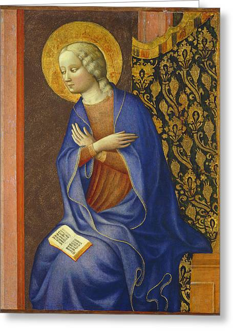 The Virgin Annunciate Greeting Card by Tommaso Masolino da Panicale