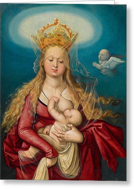 Queen Of Heaven Greeting Cards - The Virgin as queen of heaven suckling the infant Christ Greeting Card by Hans Baldung Grien