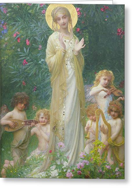 Playing Musical Instruments Greeting Cards - The Virgin in Paradise Greeting Card by Antoine Auguste Ernest Herbert