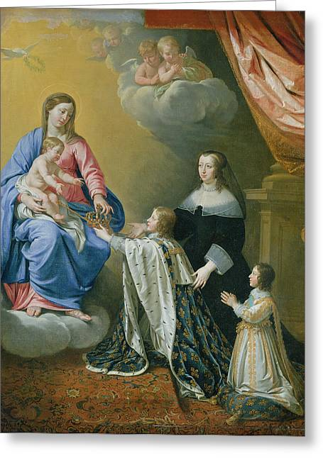 Praying Hands Photographs Greeting Cards - The Virgin Mary Gives The Crown And Sceptre To Louis Xiv, 1643 Oil On Canvas Greeting Card by Philippe de Champaigne