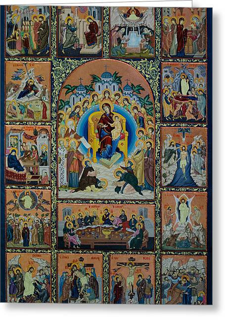 Icon Byzantine Greeting Cards - The Virgin Mary with angels Greeting Card by Claud Religious Art
