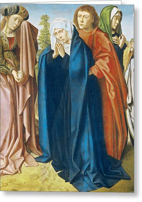 Weeping Greeting Cards - The Virgin Mary With St. John The Evangelist And The Holy Women, Right Wing From The Triptych Greeting Card by Gerard David