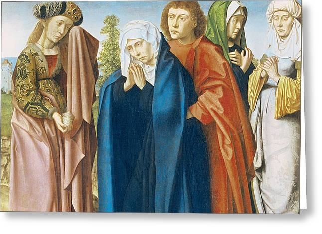 The Virgin Mary With St John The Evangelist And The Holy Women Greeting Card by Gerard David