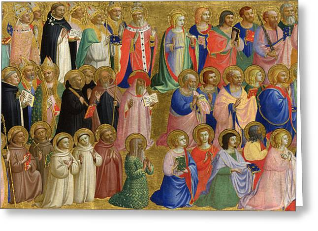 Fra Greeting Cards - The Virgin Mary with the Apostles and Other Saints Greeting Card by Fra Angelico