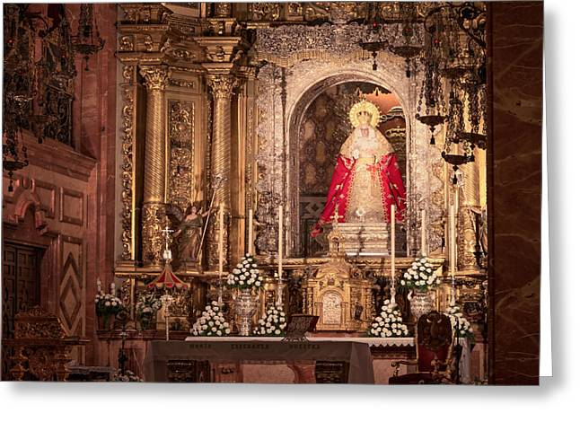 Painted Sculpture Greeting Cards - The Virgin of Hope Greeting Card by Joan Carroll