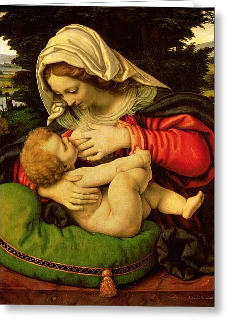 The Virgin Of The Green Cushion Greeting Card by Andrea Solario