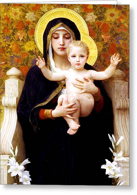 Romanticism Greeting Cards - The Virgin of the Lilies Greeting Card by William-Adolphe Bouguereau