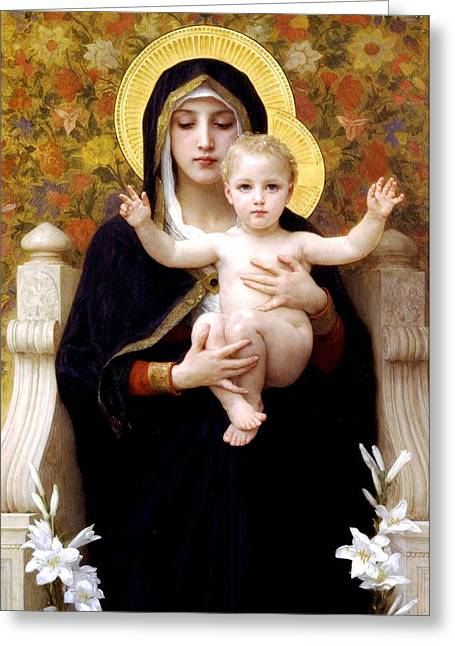 Religious Greeting Cards - The Virgin of the Lilies Greeting Card by William Bouguereau