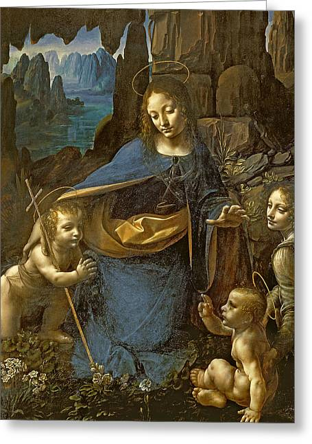 The Church Greeting Cards - The Virgin of the Rocks Greeting Card by Leonardo Da Vinci