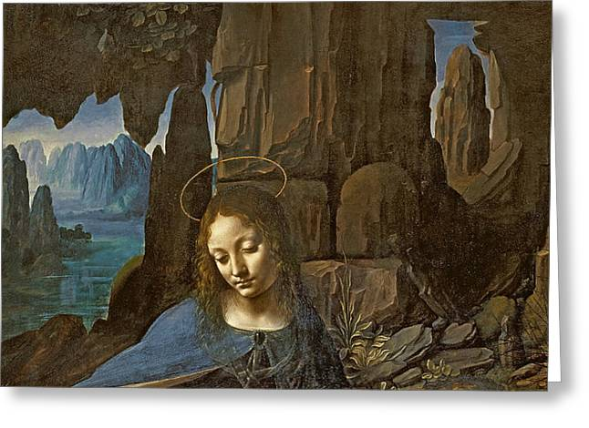 Virgin Mary Photographs Greeting Cards - The Virgin Of The Rocks With The Infant St. John Adoring The Infant Christ Accompanied By An Angel Greeting Card by Leonardo da Vinci