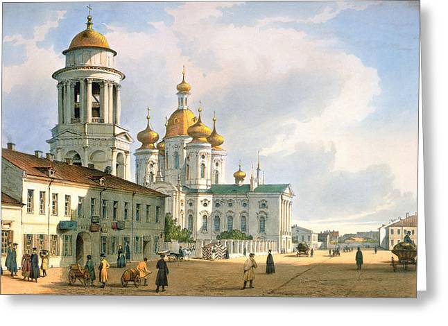 Onion Dome Greeting Cards - The Virgin Of Vladimir Church In St. Petersburg, C.1840 Colour Litho Greeting Card by Ferdinand Victor Perrot
