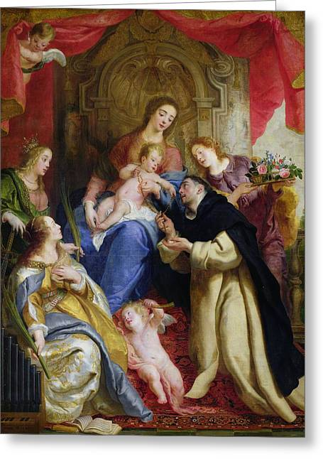 Margaret Greeting Cards - The Virgin Offering The Rosary To St. Dominic, 1641 Oil On Canvas Greeting Card by Gaspar de Crayer